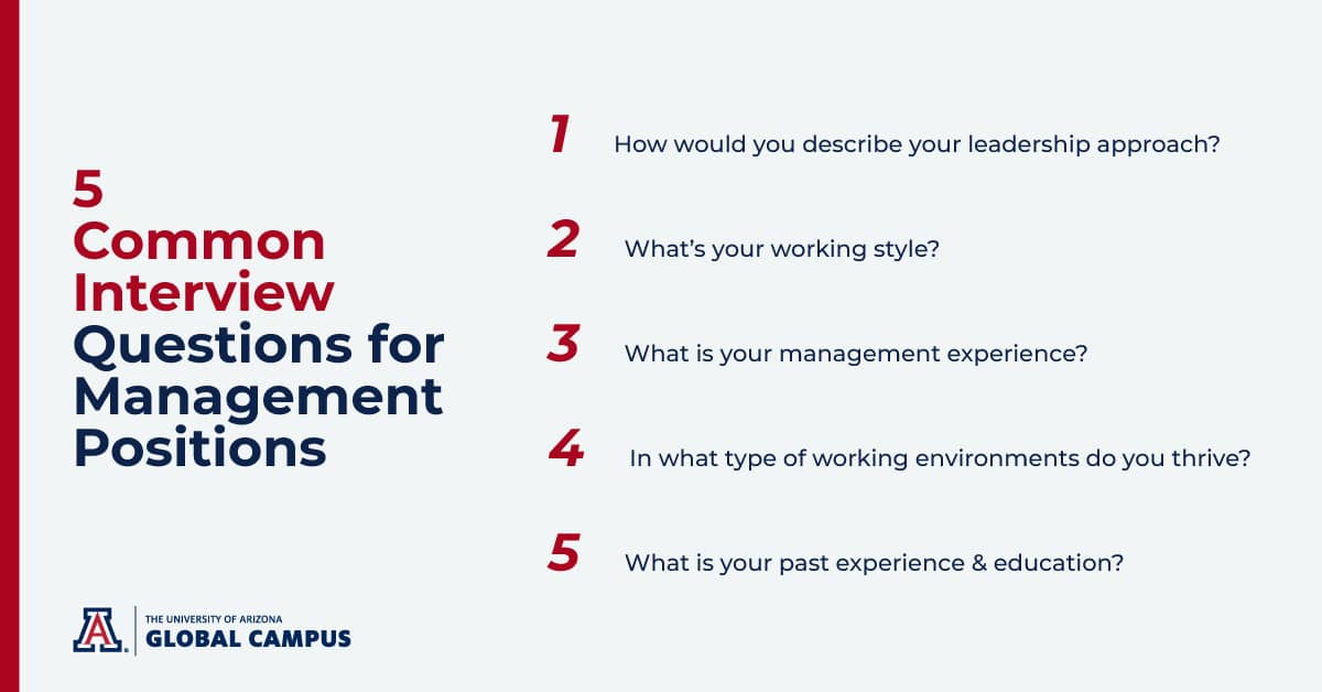 5 common interview questions for management positions